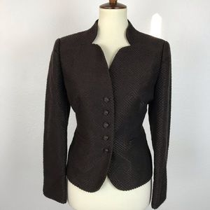 Talbots Petite Textured Fitted Lined Blazer